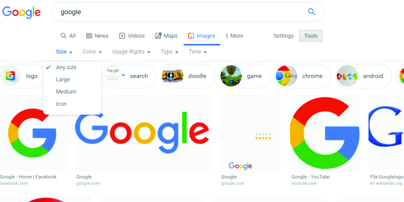 Google Silently Remove Exact Size Image Search