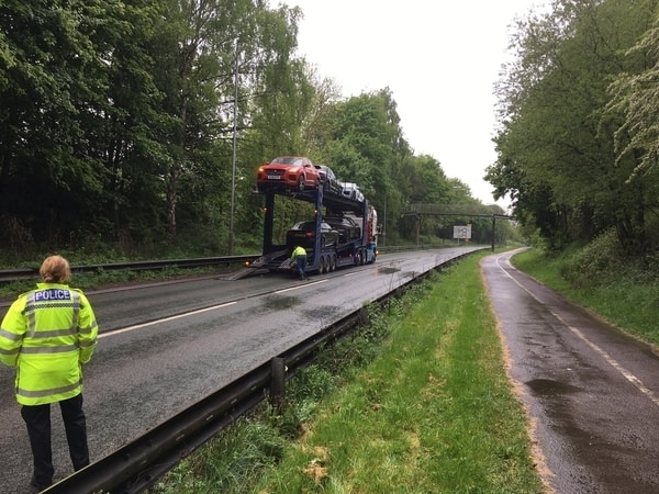 Jaguar SUVs Hit Low Bridge In Shrewsbury
